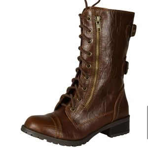 Soda dome mid calf brown combat boots size 11